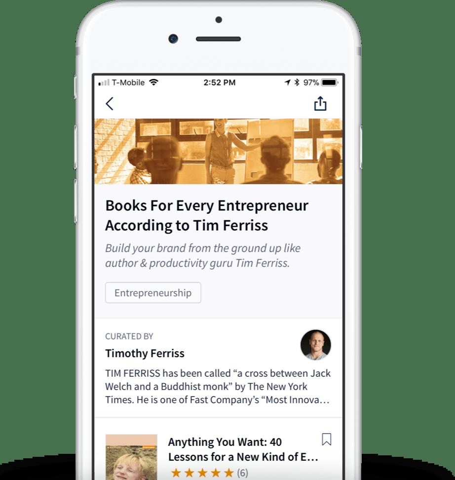 Liste di lettura selezionate su un dispositivo mobile